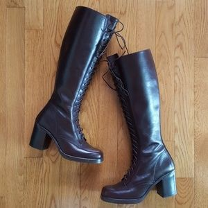 Vintage 90's Lace Up Granny Boots Combat Knee High